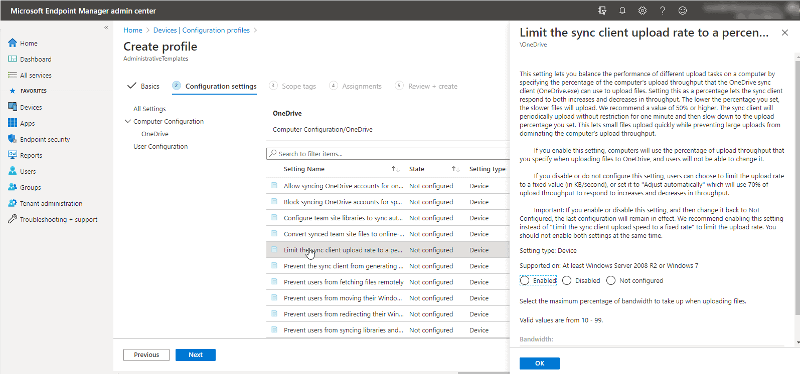 OneDrive policies in Microsoft Endpoint Manager