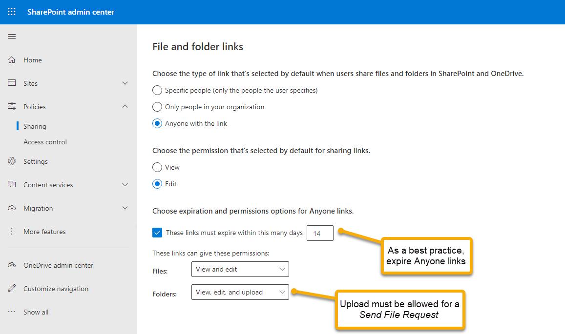 SharePoint Admin Center Policies Sharing