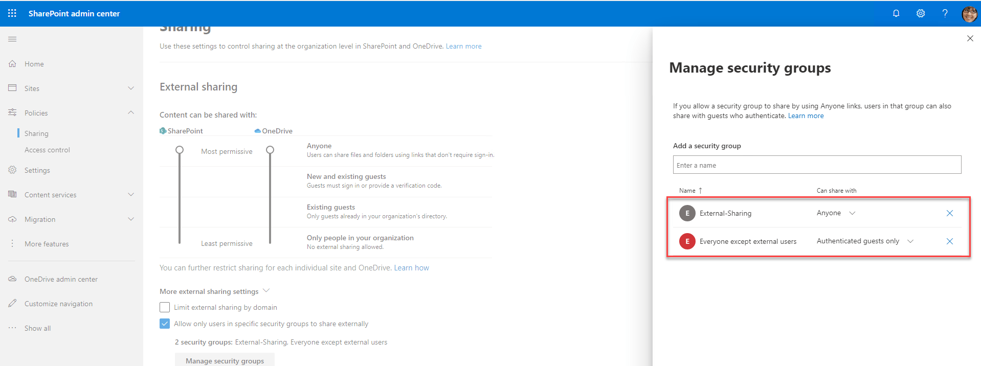 SharePoint Admin Center Manage Security Groups