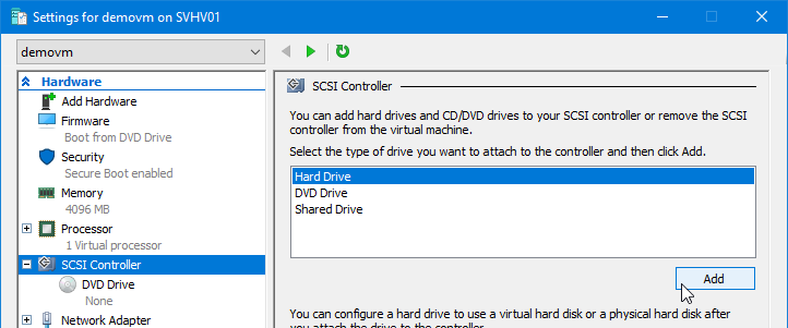 Add a virtual disk to a virtual machine in Hyper-V Manager