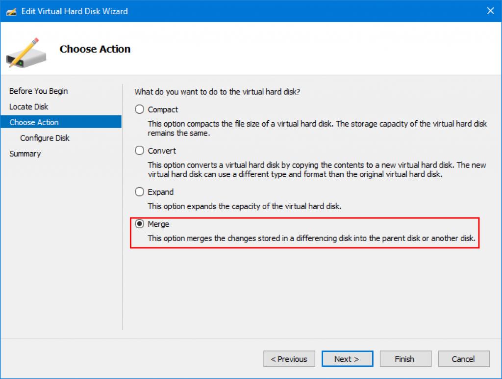 Disk merge option in Hyper-V Manager