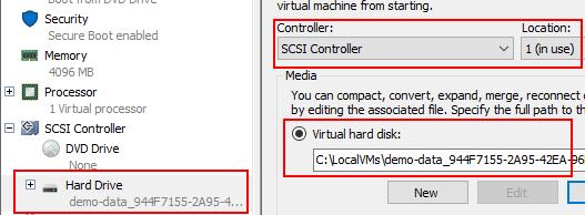 Hyper-V Manager virtual disk information