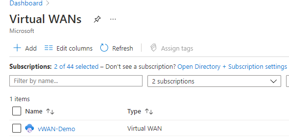 The virtual WAN Management resource