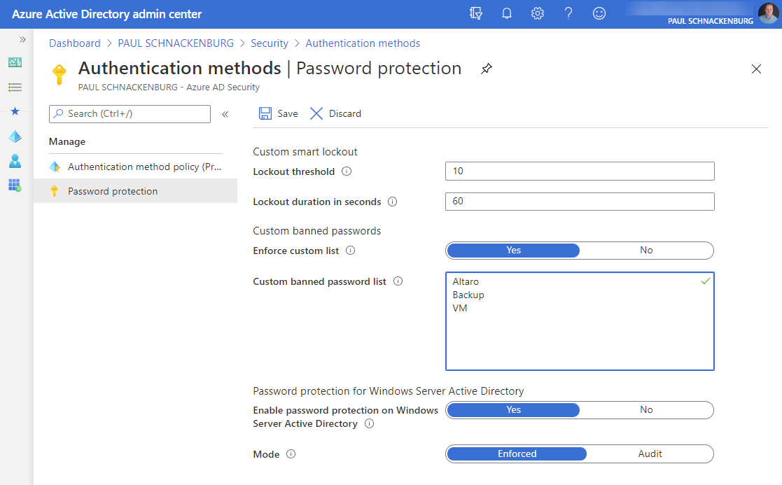 AAD Password Protection settings