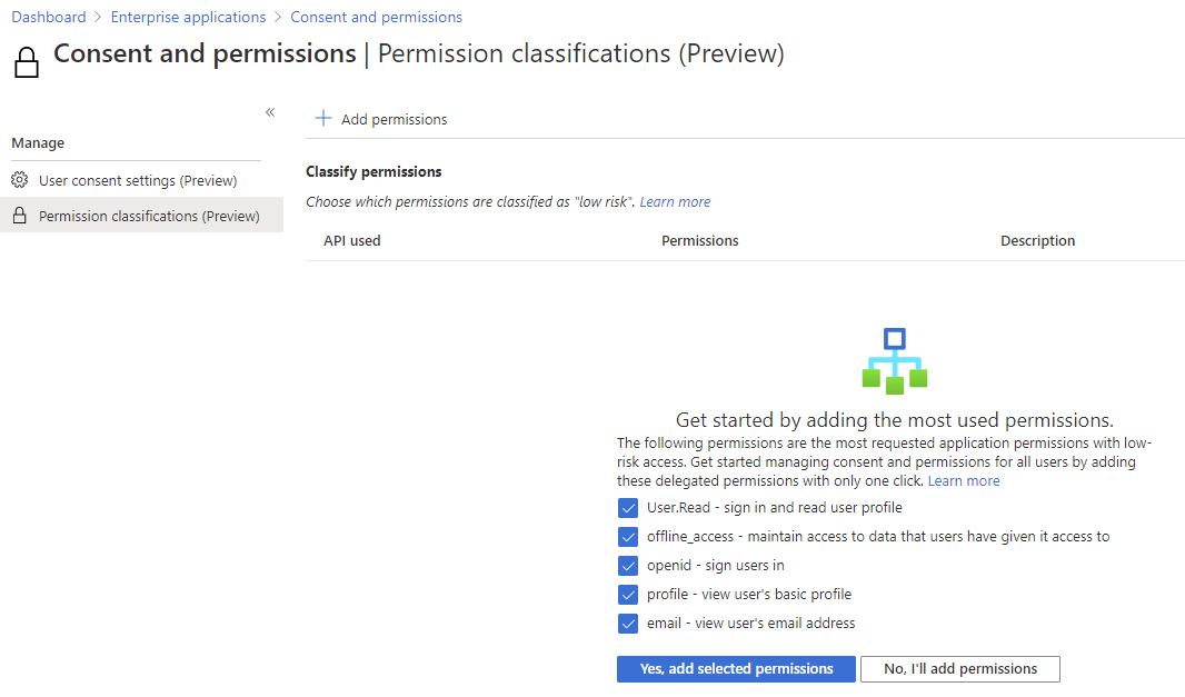Azure AD Suggested low impact permissions
