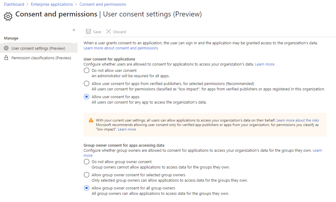 Azure AD portal Consent and Permissions