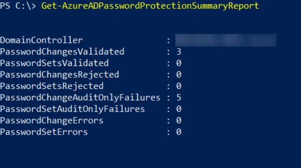 Get-AzureADPasswordProtectionSummaryReport output