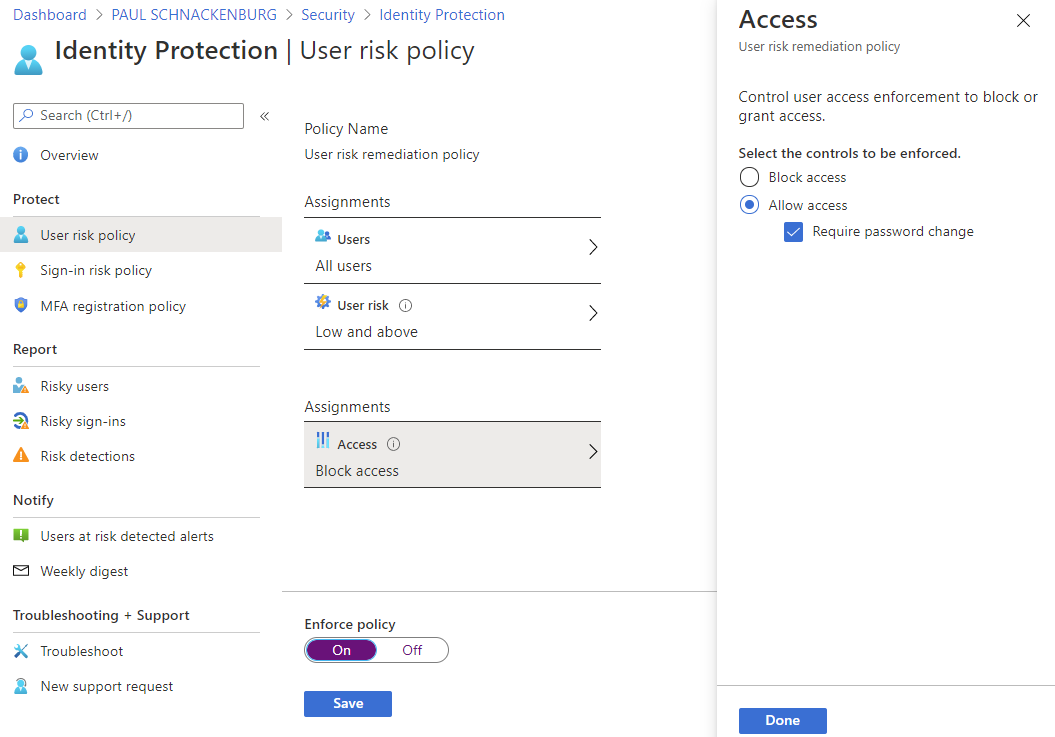 Identity Protection User Risk Policy