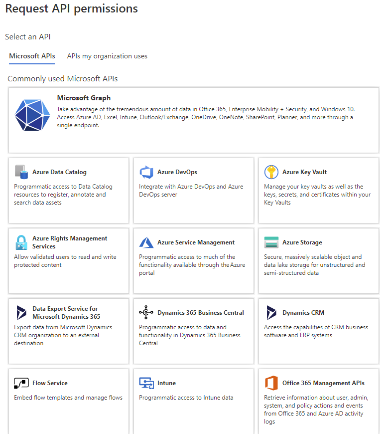 Pick an Microsoft API to define your own low risk permissions