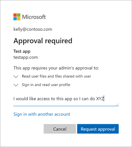 Request approval with justification, Microsoft