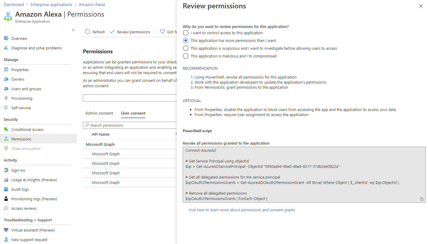 Review permissions for an existing app