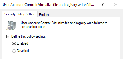 User Account Control UAC Security Policy Setting