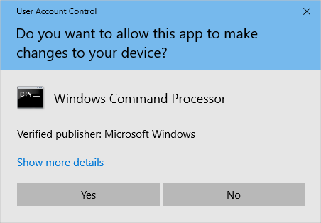 User Account Control Windows Command Processor
