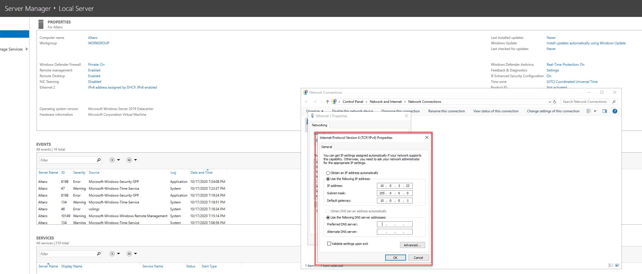 NIC configuration IP change