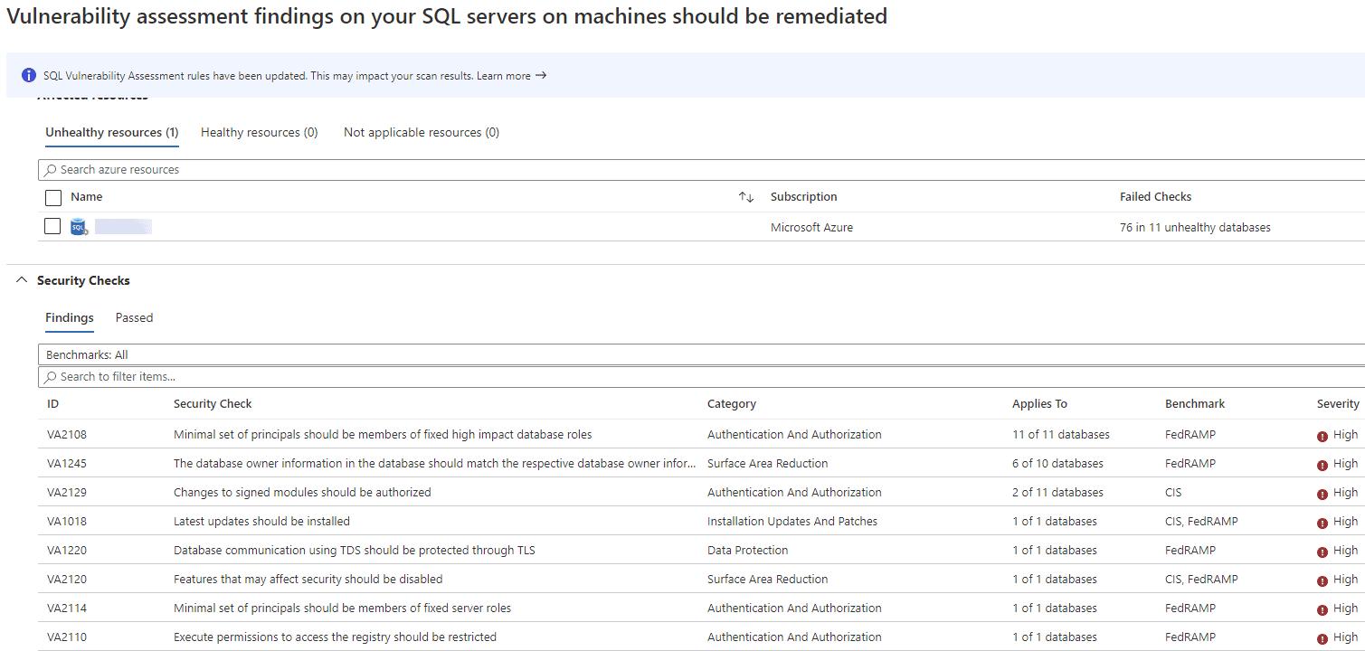 ASC SQL Server vulnerability list
