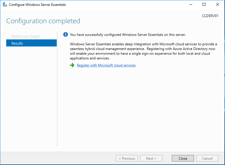 Configuration of Windows Server 2016 Essentials completes successfully