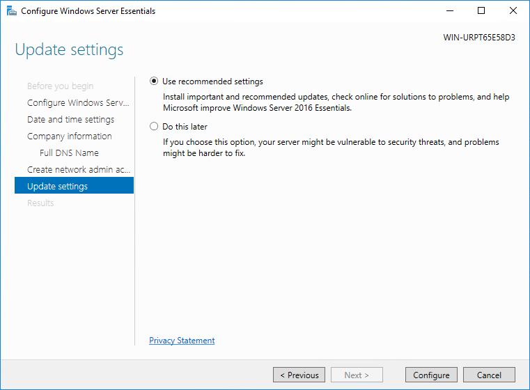 Configure the Windows Update settings in the Windows Server Essentials configuration wizard