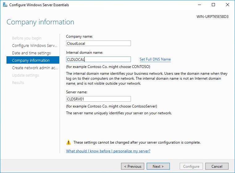 Configure the domain settings