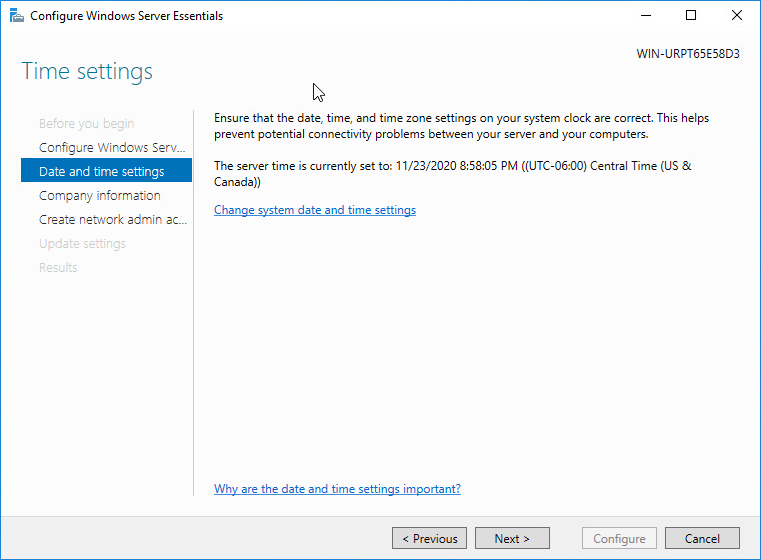 Configuring the date and time in Windows Server 2016 Essentials setup wizard