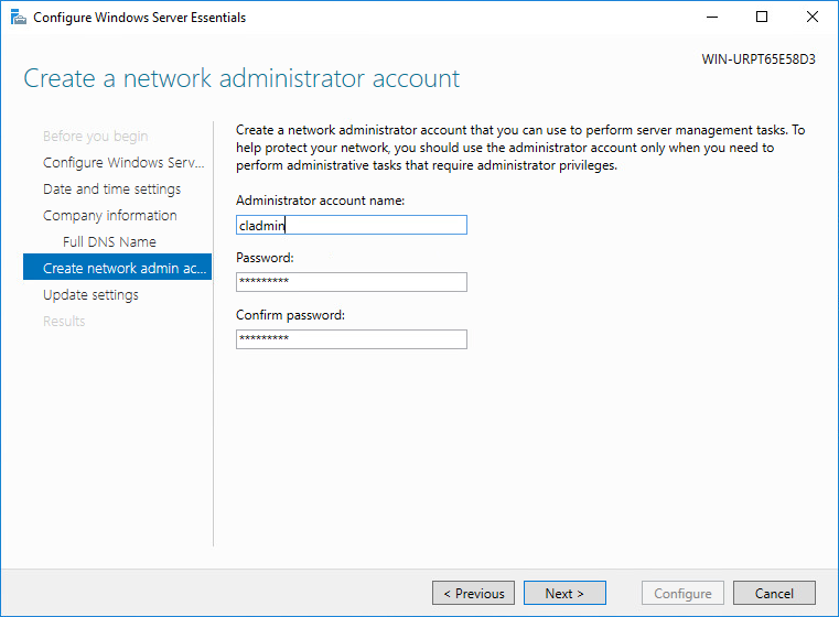 Create a network administrator account