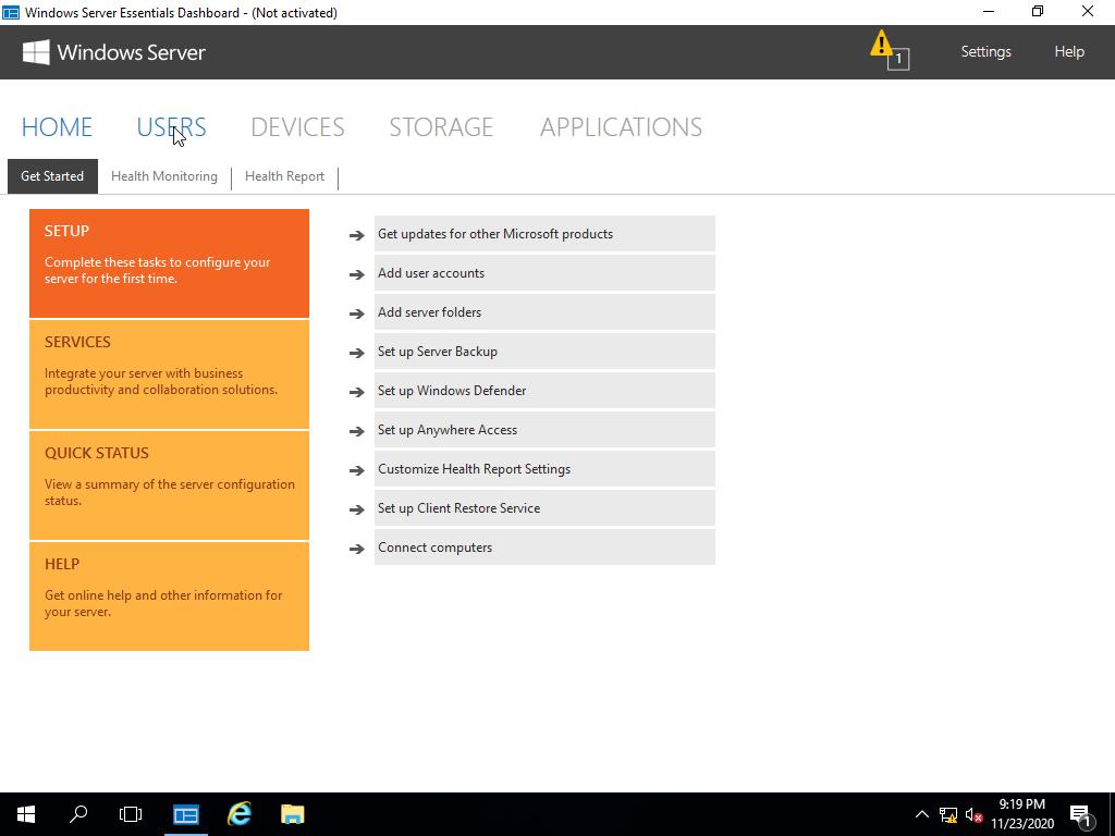 Windows Server 2016 Essentials Dashboard