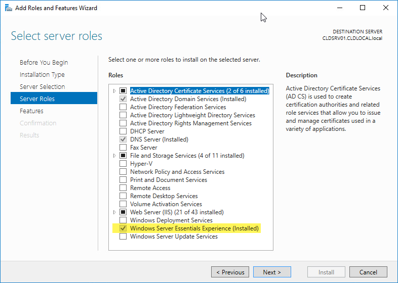 Windows Server 2016 Essentials after installation and initial configuration