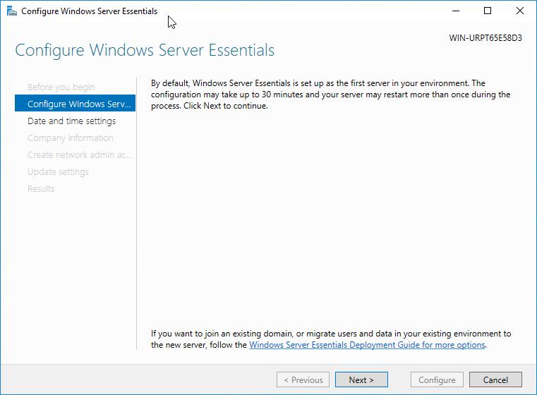 Windows Server 2016 configure Windows Server Essentials wizard