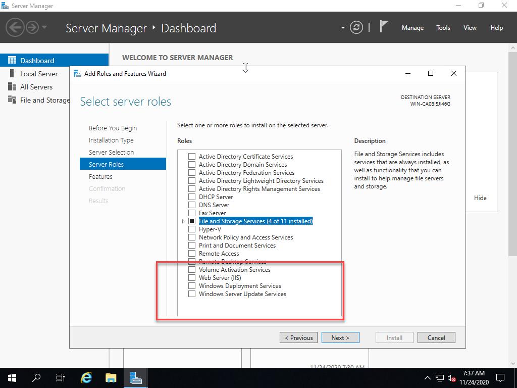 Windows Server 2019 Essentials server after installation