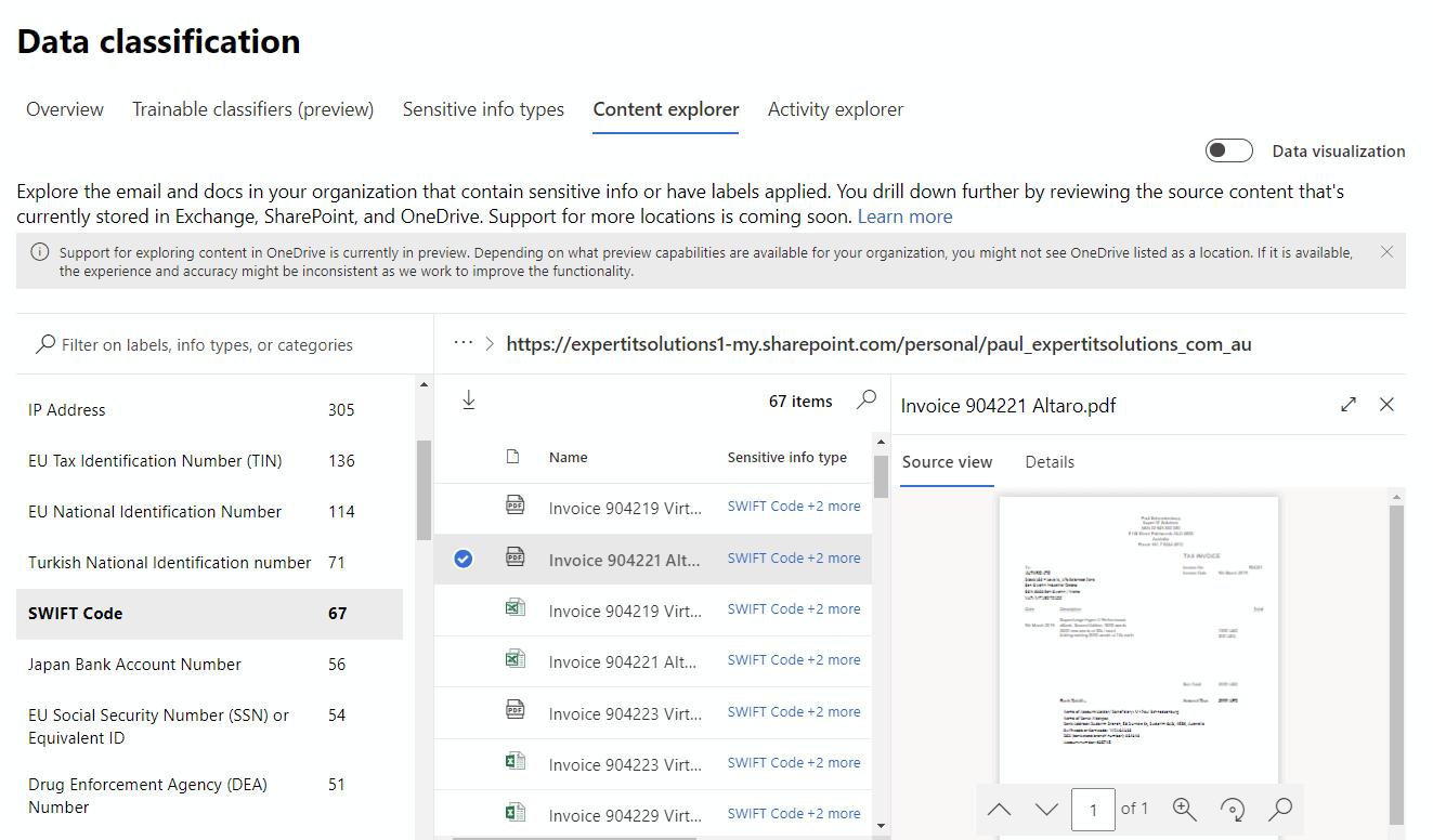 Content Explorer in Data Classification M365
