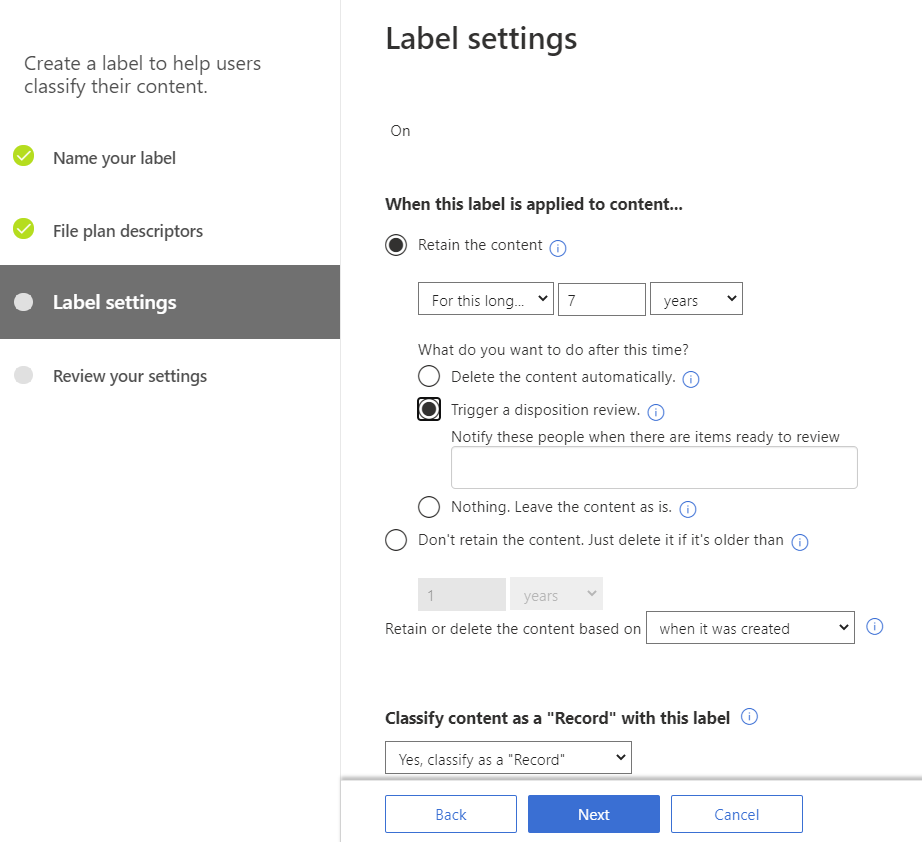 Creating a retention label with a disposition review M365
