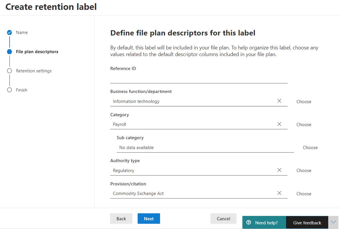 Defining file plan descriptors for a label M365