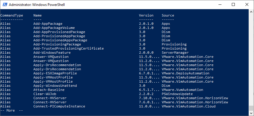 Get-Command displaying a large number of built-in PowerShell cmdlets