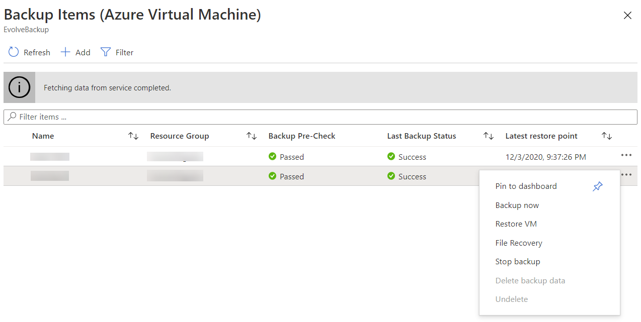 Production VMs protected in Azure Backup