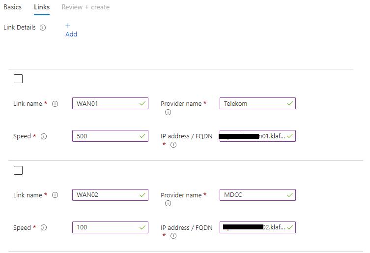 Azure Gateway configuration