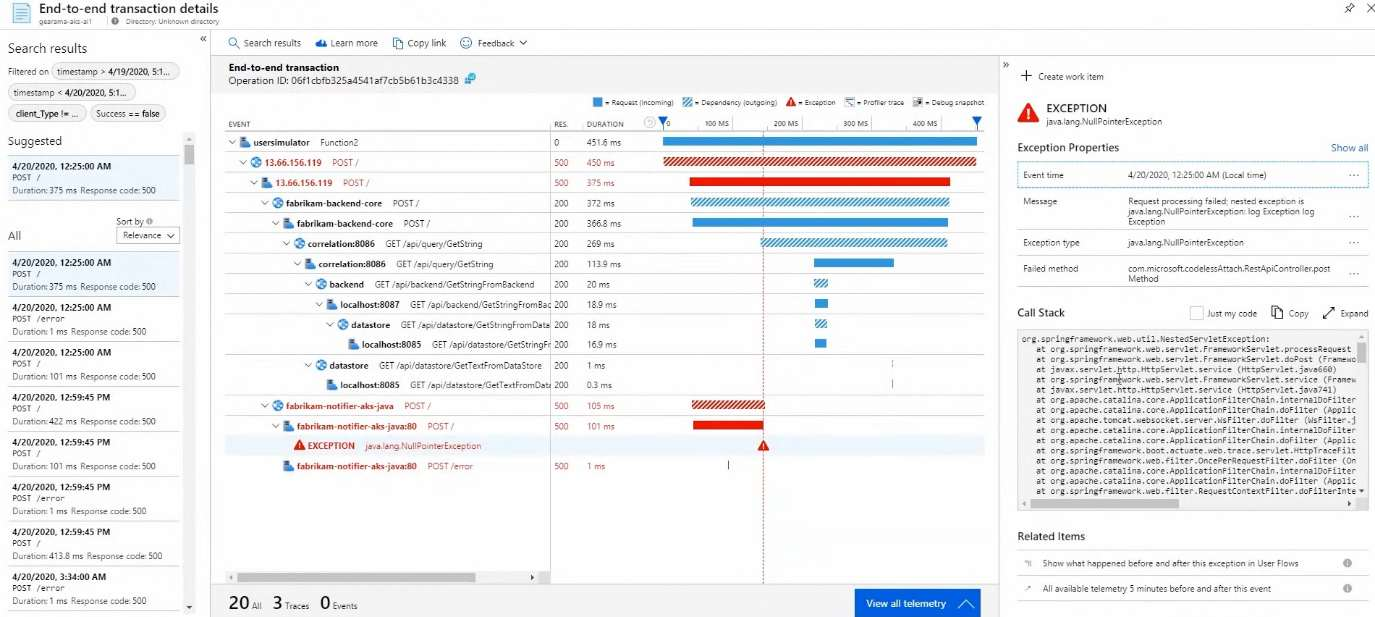 Azure Monitor Application Insights Transaction View