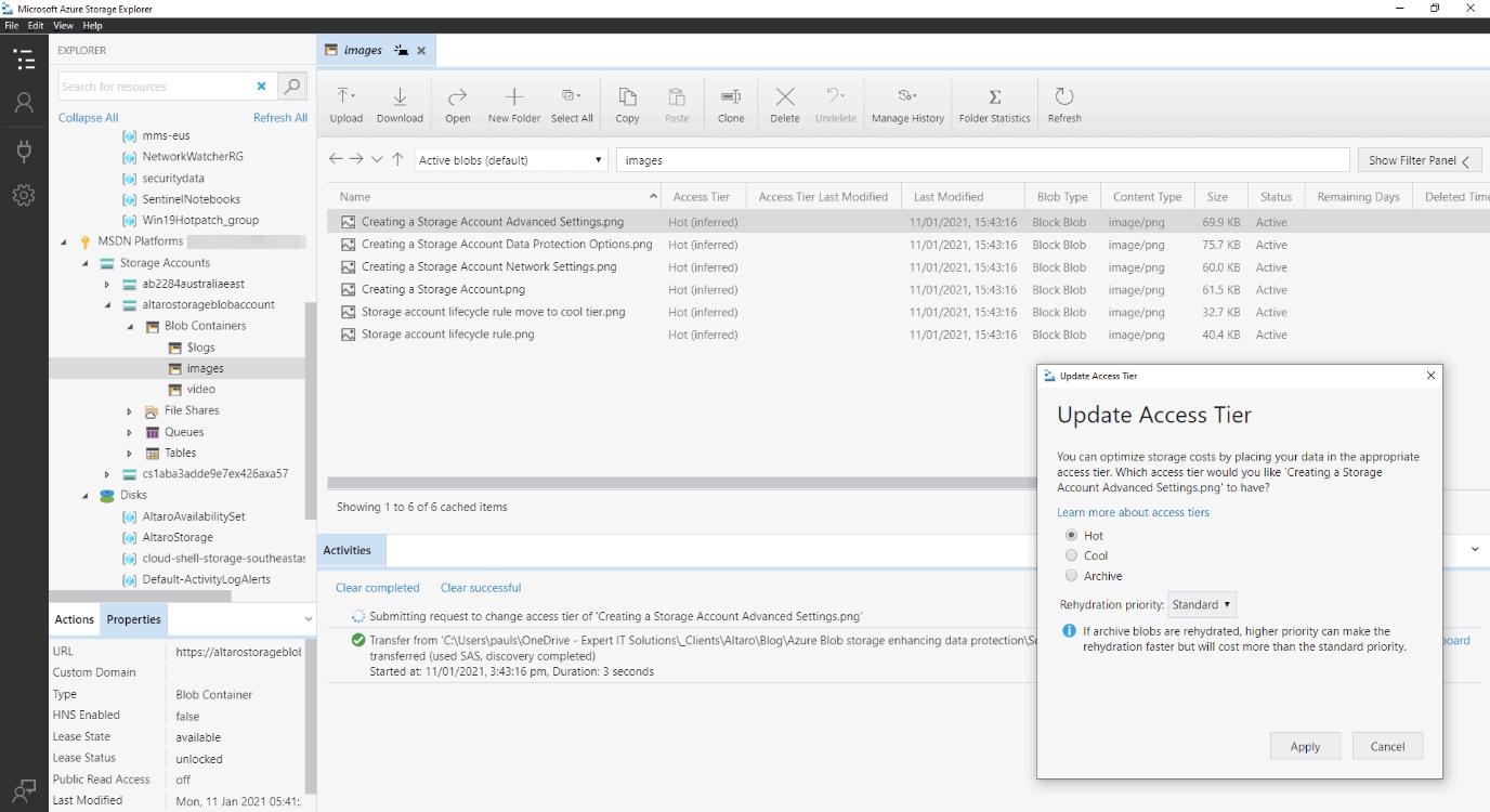 Azure Storage Explorer - manually setting access tier