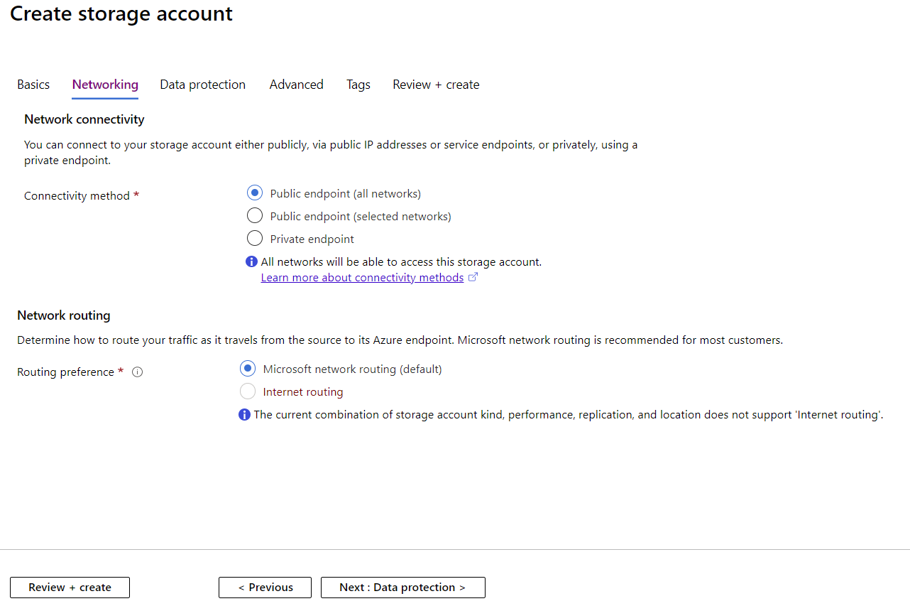 Creating a Storage Account Network Settings