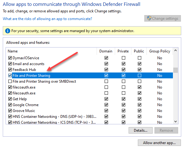 Allowing File and Printer Sharing in the Windows Defender Firewall