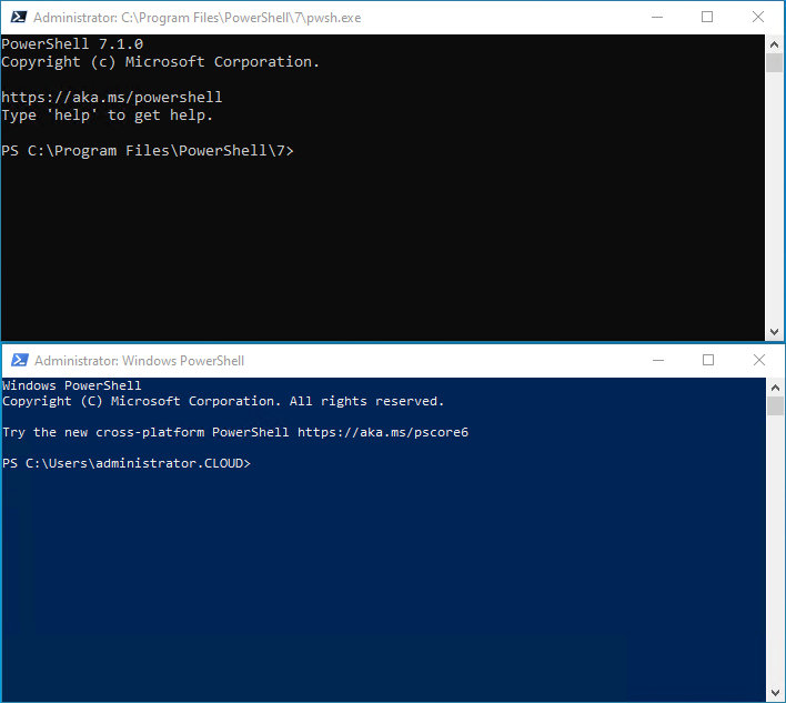 Comparing PowerShell Core and legacy PowerShell environments