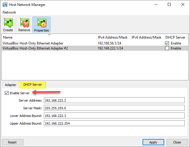 Configuring the Host Network Manager DHCP server