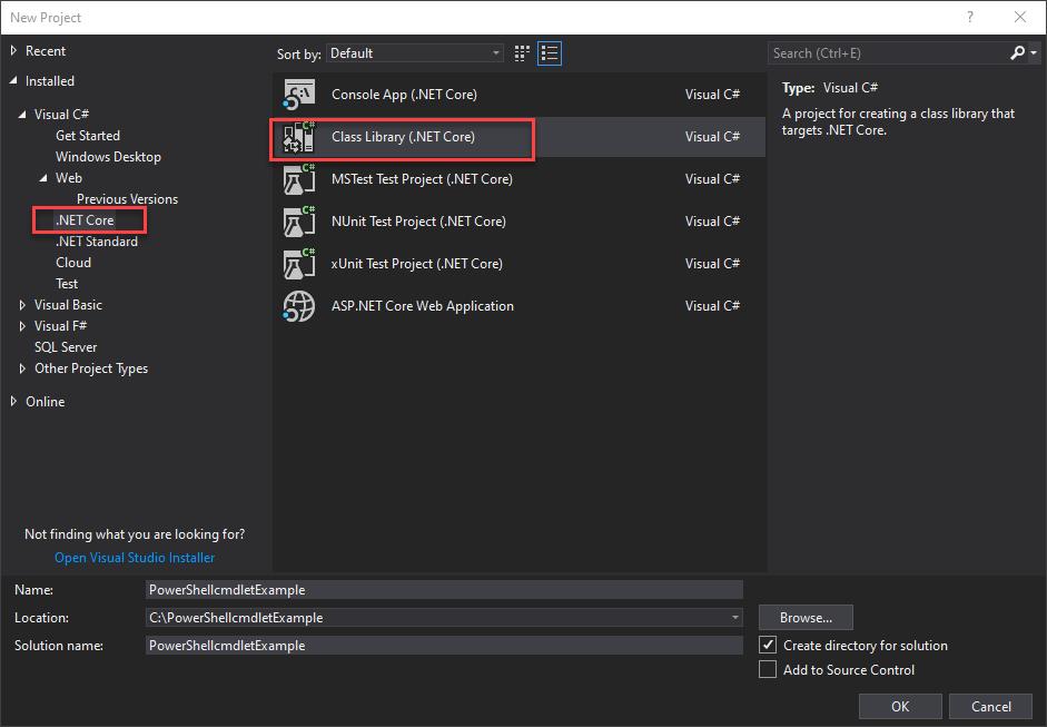 Create a new ClassLibrary (.NET Core) project in Visual Studio