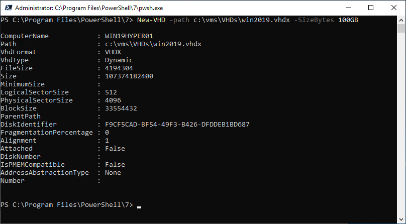 Creating a new VHDX file in a directory using New-VHD