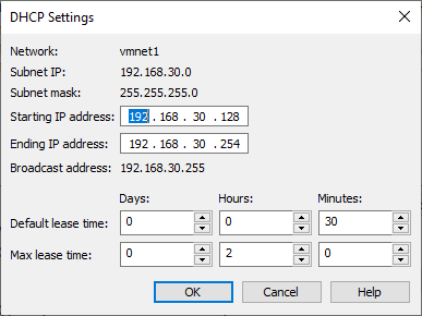 Customizing the virtual network DHCP settings in VMware Workstation