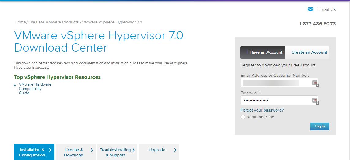 Downloading VMware vSphere Hypervisor 7.0