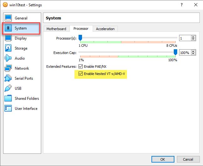 Enabling nested virtualization on a Windows 10 VM running in VirtualBox