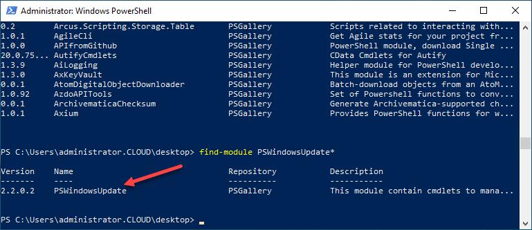 Finding the PSWindowsUpdate Powershell module from the PowerShell Gallery