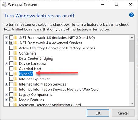 Hyper-V Windows feature for Windows 10