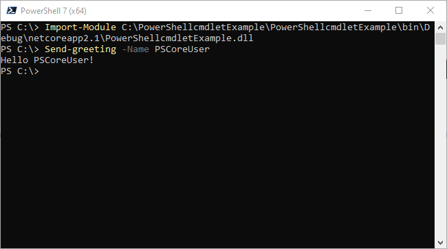 Import the module and run the new cmdlet