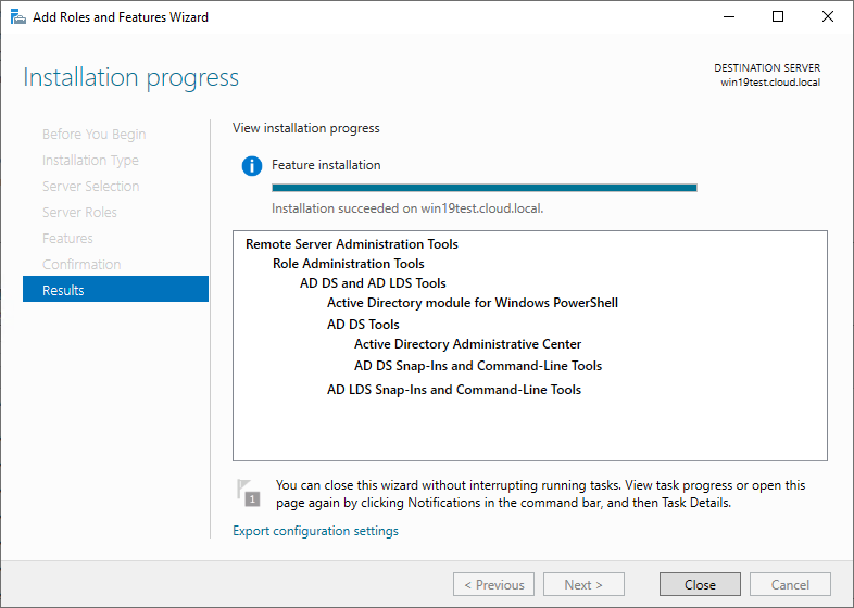 Installing AD DS and AD LDS Tools to install the Active Directory PowerShell module