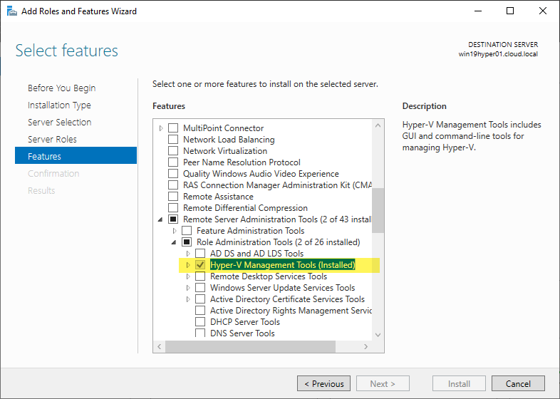 Installing the Hyper-V Management Tools including the PowerShell module